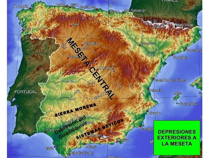 MESETA CENTRAL DEPRESIONES EXTERIORES A LA MESETA Depresión del Guadalquivir SIERRA MORENA SISTEMAS BÉTICOS