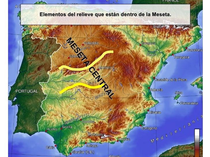 Elementos del relieve que están dentro de la Meseta. MESETA CENTRAL