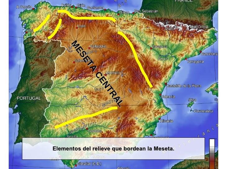 Elementos del relieve que bordean la Meseta. MESETA CENTRAL