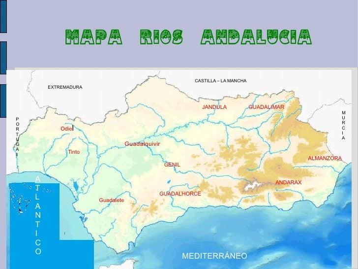 Mapa Rios De Andalucia.Relieve Rios Climas De Andalucia