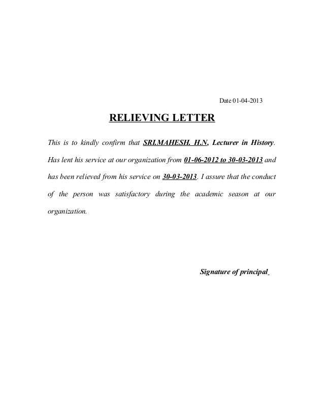 Relieving letters and format date 01 04 2013 relieving letter this is to kindly confirm that sri yelopaper Choice Image