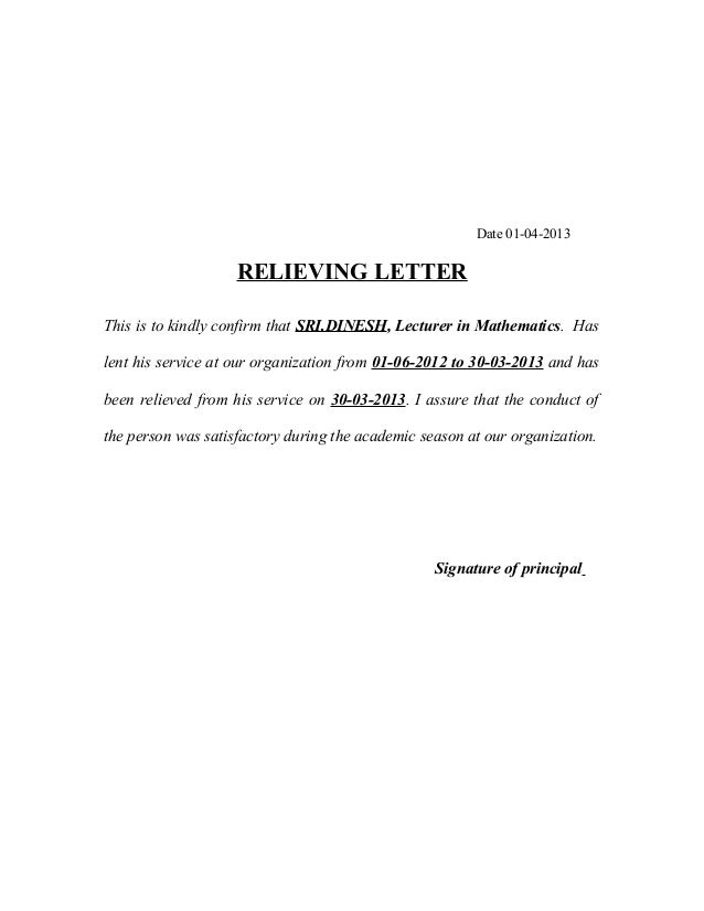 Relieving Letters And Format