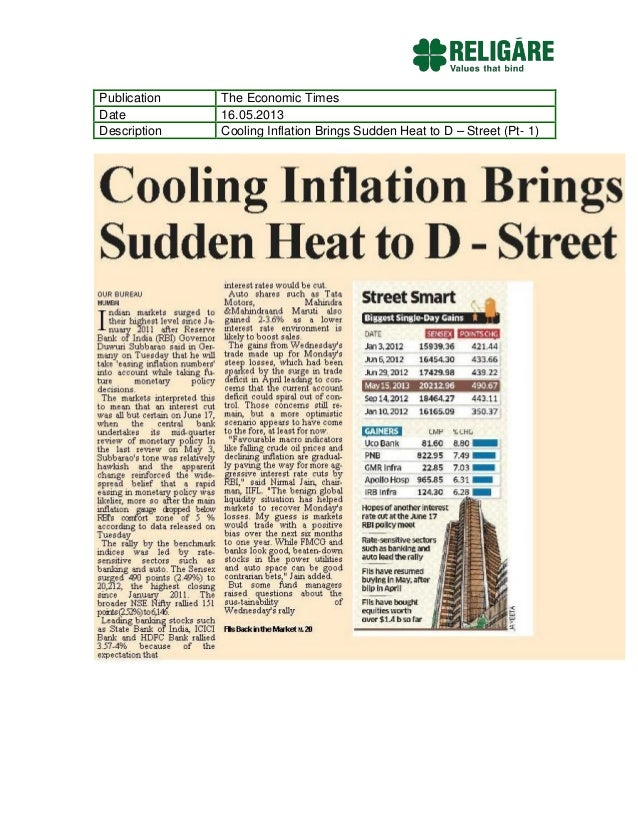 Publication The Economic TimesDate 16.05.2013Description Cooling Inflation Brings Sudden Heat to D – Street (Pt- 1)