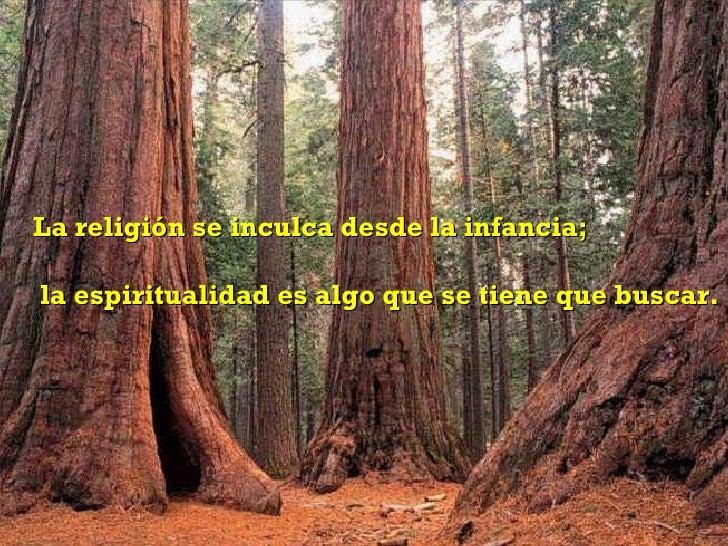 La religión se inculca desde la infancia;  la espiritualidad es algo que se tiene que buscar.