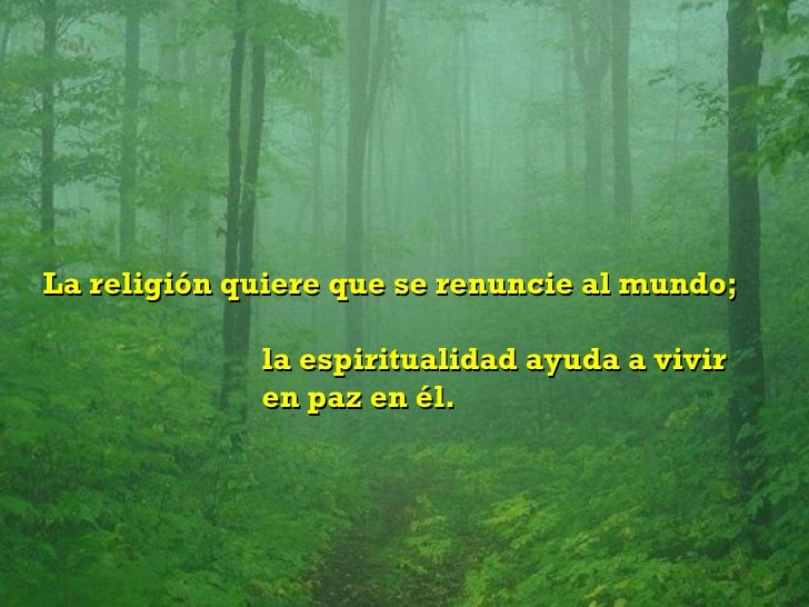 La religión quiere que se renuncie al mundo;  la espiritualidad ayuda a vivir  en paz en él.