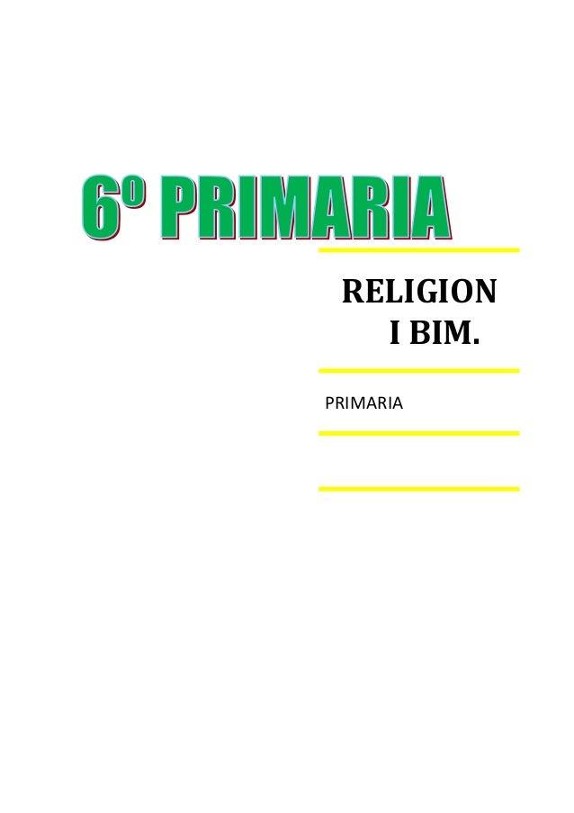 RELIGION I BIM. PRIMARIA