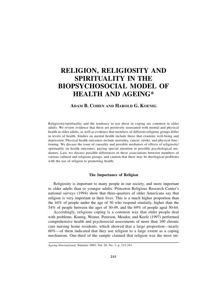 RELIGION, RELIGIOSITY AND            SPIRITUALITY IN THE        BIOPSYCHOSOCIAL MODEL OF            HEALTH AND AGEING*    ...