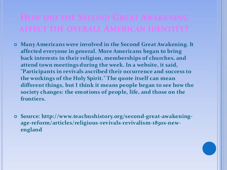 the different social movements during the second great awakening Findings for the study of the second great awakening and american  analysis of  the social ecology of revivalism in new york state for the years 1825 to 1835 it   the evangelical movement thrived in two different settings—both urbanizing.