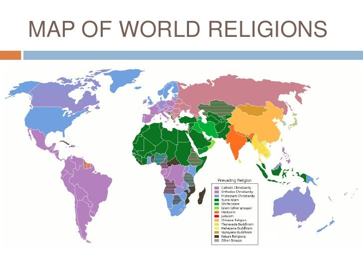 MAP OF WORLD RELIGIONS<br />