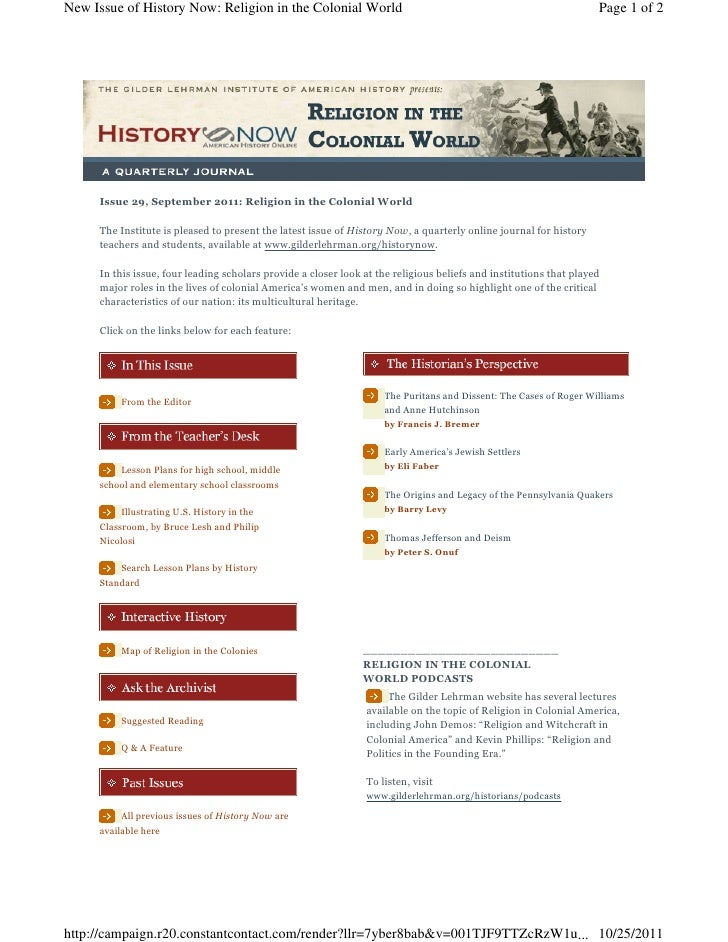 New Issue of History Now: Religion in the Colonial World                                                            Page 1...