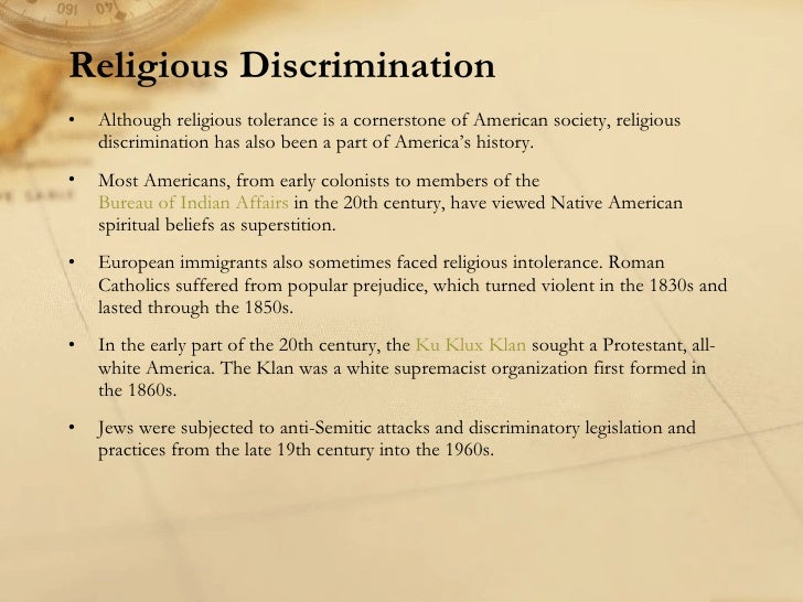 religion and discrimination Religious discrimination news find breaking news, commentary, and archival information about religious discrimination from the tribunedigital-chicagotribune.
