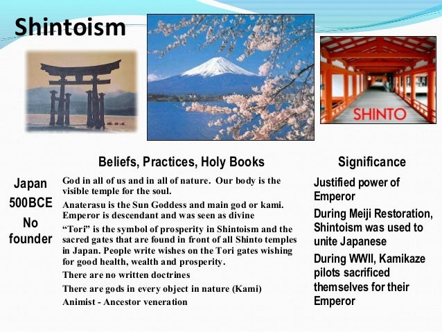 sinto and daoim Shinto (神道, shintō) or kami-no-michi (among other names) is the traditional  religion of japan  some of their practices come from buddhism, taoism or  confucianism, but most come from ancient local traditions sect shinto (教派神道, .