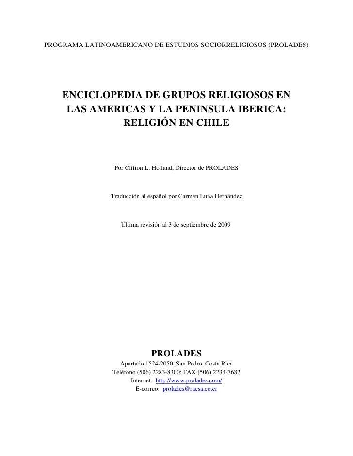 PROGRAMA LATINOAMERICANO DE ESTUDIOS SOCIORRELIGIOSOS (PROLADES)    ENCICLOPEDIA DE GRUPOS RELIGIOSOS EN     LAS AMERICAS ...