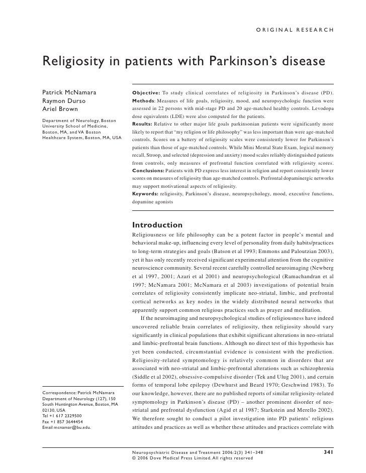 ORIGINAL RESEARCH     Religiosity in patients with Parkinson's disease  Patrick McNamara                      Objective: T...