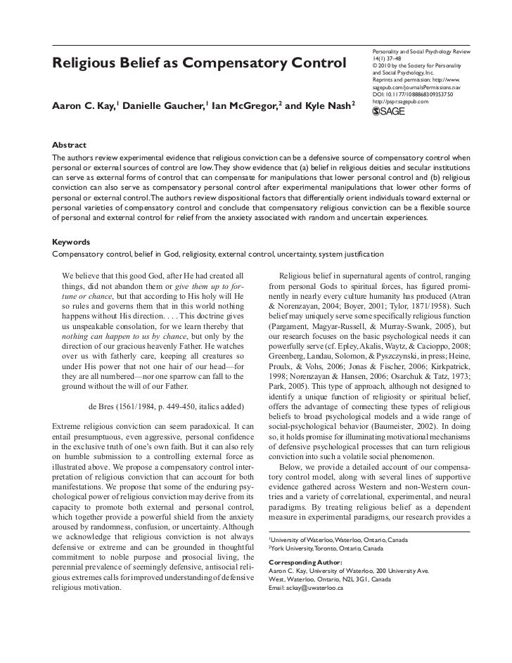 Personality and Social Psychology ReviewReligious Belief as Compensatory Control                                          ...
