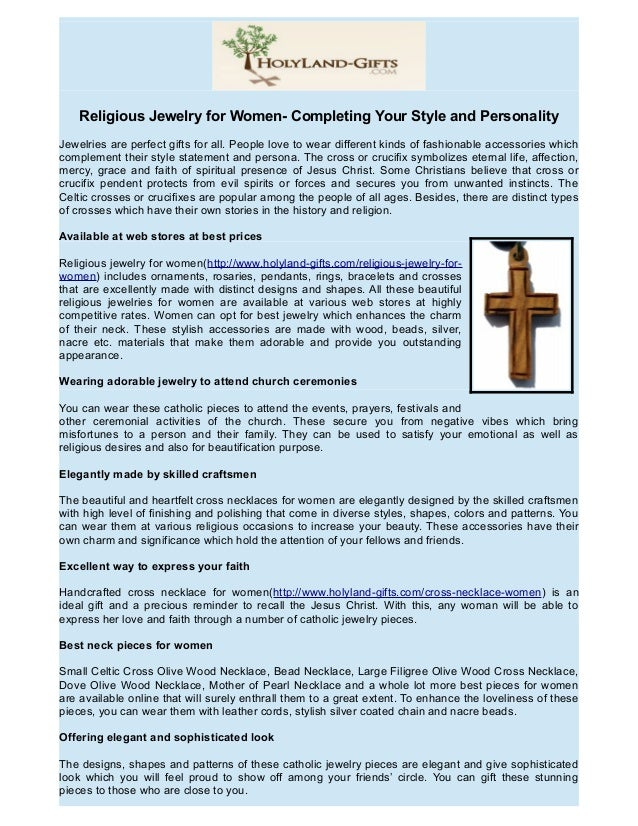 Religious Jewelry for Women- Completing Your Style and Personality Jewelries are perfect gifts for all. People love to wea...