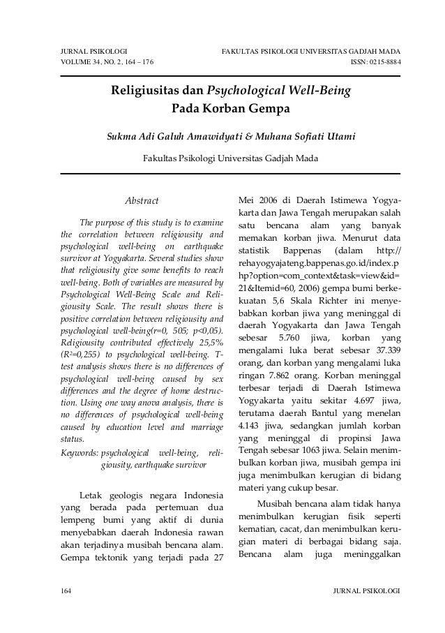 JURNAL PSIKOLOGI FAKULTAS PSIKOLOGI UNIVERSITAS GADJAH MADA VOLUME 34, NO. 2, 164 – 176 ISSN: 0215-8884 164 JURNAL PSIKOLO...