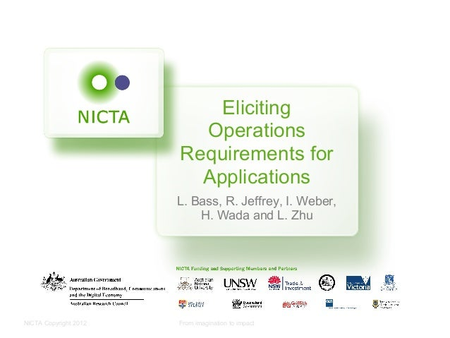 NICTA Copyright 2012 From imagination to impactElicitingOperationsRequirements forApplicationsL. Bass, R. Jeffrey, I. Webe...