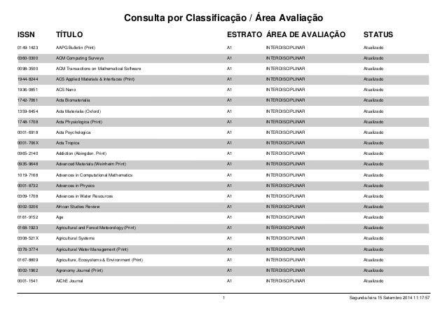 Consulta por Classificação / Área Avaliação STATUSESTRATOTÍTULOISSN ÁREA DE AVALIAÇÃO 0149-1423 AAPG Bulletin (Print) A1 I...