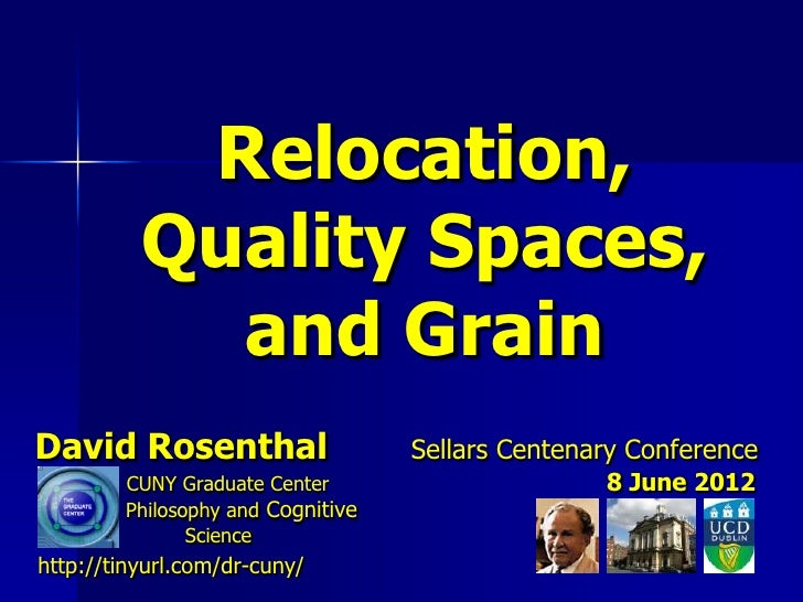 Relocation,          Quality Spaces,            and GrainDavid Rosenthal                    Sellars Centenary Conference  ...