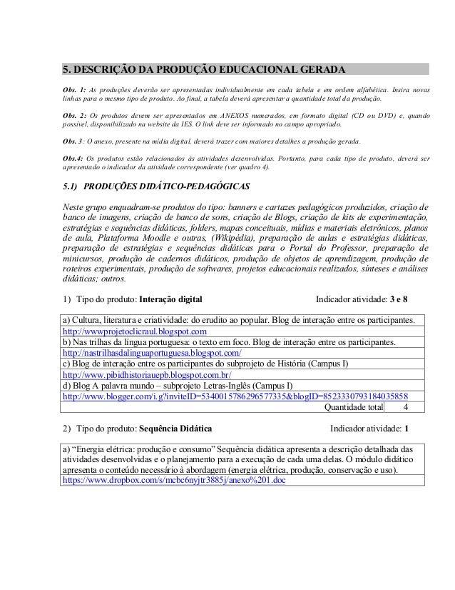 5. DESCRIÇÃO DA PRODUÇÃO EDUCACIONAL GERADA  Obs. 1: As produções deverão ser apresentadas individualmente em cada tabela ...