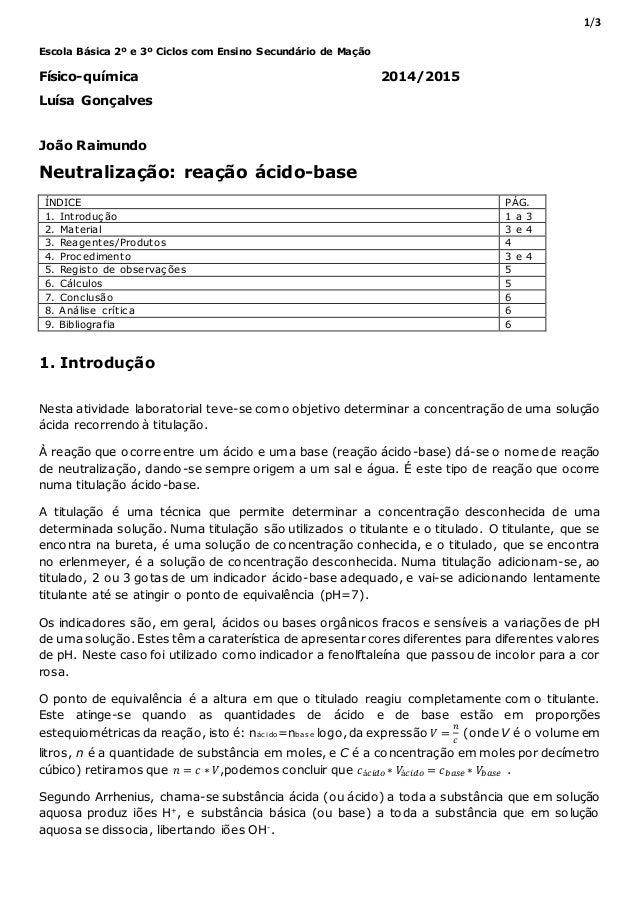 1/3 Escola Básica 2º e 3º Ciclos com Ensino Secundário de Mação Físico-química 2014/2015 Luísa Gonçalves João Raimundo Neu...