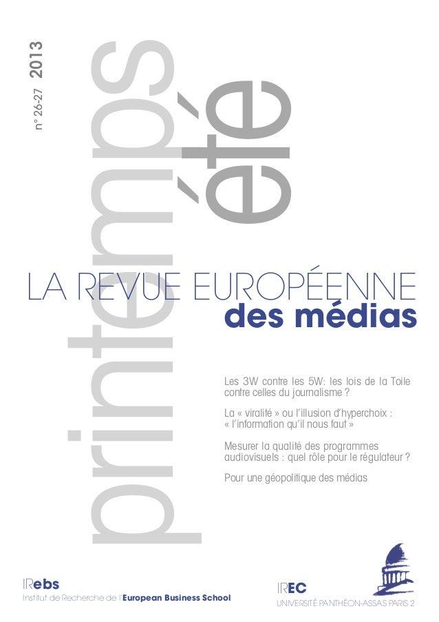 printemps IRebs Institut de Recherche de l'European Business School IREC UNIVERSITÉ PANTHÉON-ASSAS PARIS 2 n°26-272013 Les...