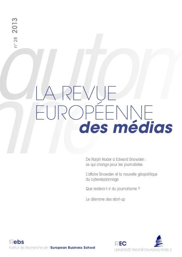 IRebs Institut de Recherche de l'European Business School IREC UNIVERSITÉ PANTHÉON-ASSAS PARIS 2 des médias LA REVUE EUROP...