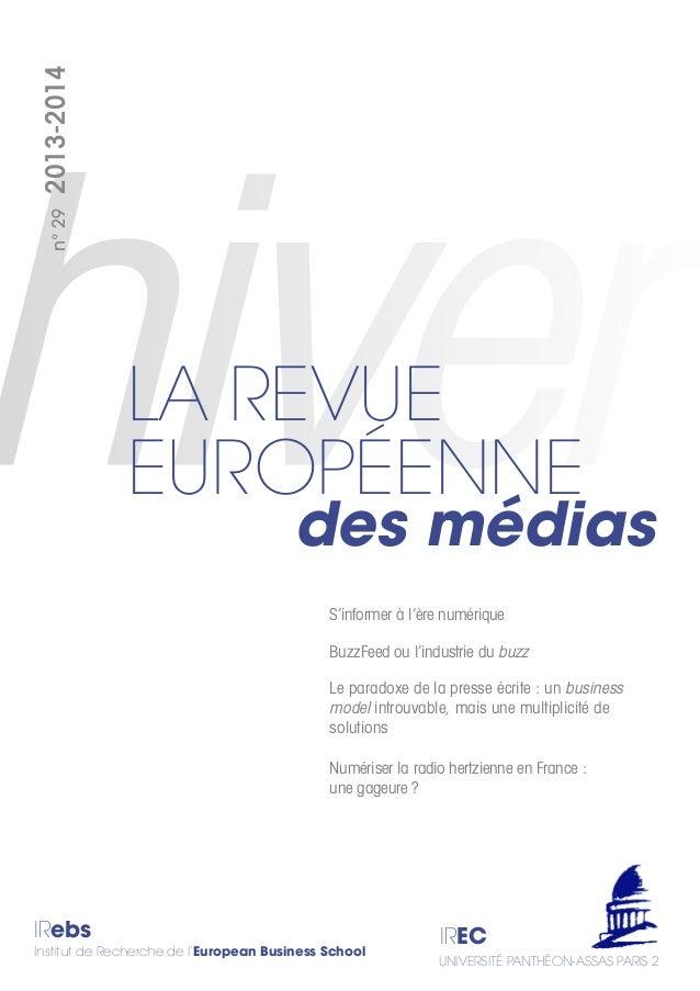 IRebs Institut de Recherche de l'European Business School IREC UNIVERSITÉ PANTHÉON-ASSAS PARIS 2 n°292013-2014 des médias ...