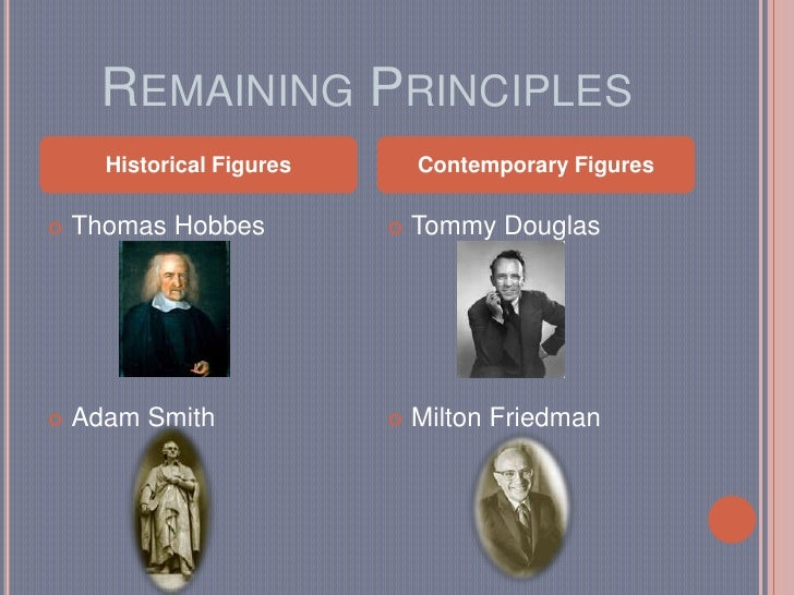 Remaining Principles <br />Thomas Hobbes<br />Adam Smith<br />Tommy Douglas<br />Milton Friedman<br />Historical Figures<b...