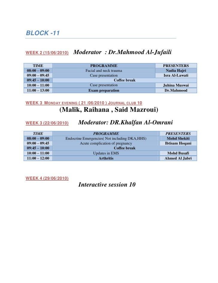 BLOCK -11  WEEK 2 (15/06/2010)   Moderator : Dr.Mahmood Al-Jufaili    TIME                        PROGRAMME               ...