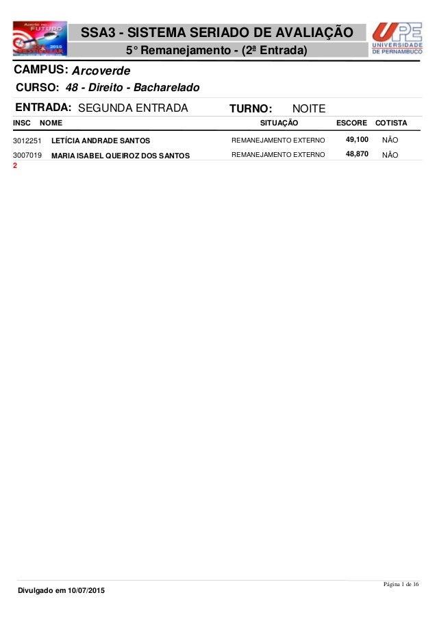 NOME 48 - Direito - Bacharelado SSA3 - SISTEMA SERIADO DE AVALIAÇÃO ArcoverdeCAMPUS: 5° Remanejamento - (2ª Entrada) INSC ...