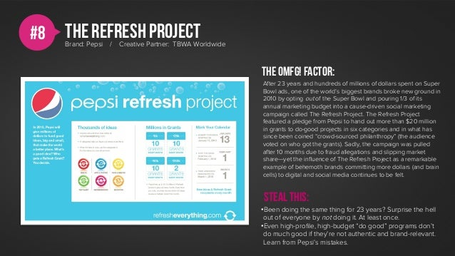 #8   The REFRESH project     Brand: Pepsi   /   Creative Partner: TBWA Worldwide                                          ...