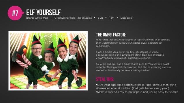 #7   Elf yourself     Brand: Office Max   /   Creative Partners: Jason Zada Ÿ EVB Ÿ    Toy    Ÿ   Maccabee               ...