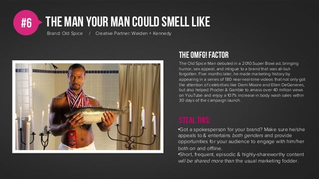 #6   the man your man could smell like     Brand: Old Spice   /   Creative Partner: Weiden + Kennedy                      ...