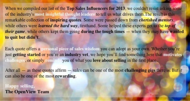 Remarkable Selling: 23 Inspiring Quotes from the Top Sales Influencers Online Slide 2