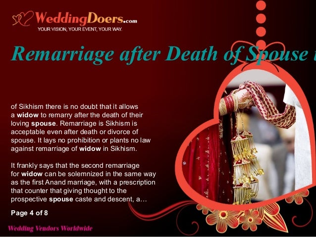 Second marriage after death of spouse