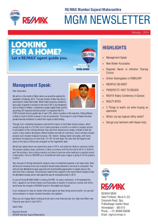 MGM NEWSLETTER February - 2014 RE/MAX MGM Safal Profitaire, Block A, G5, Corporate Road, Opp. Prahladnagar Garden Road, Ah...