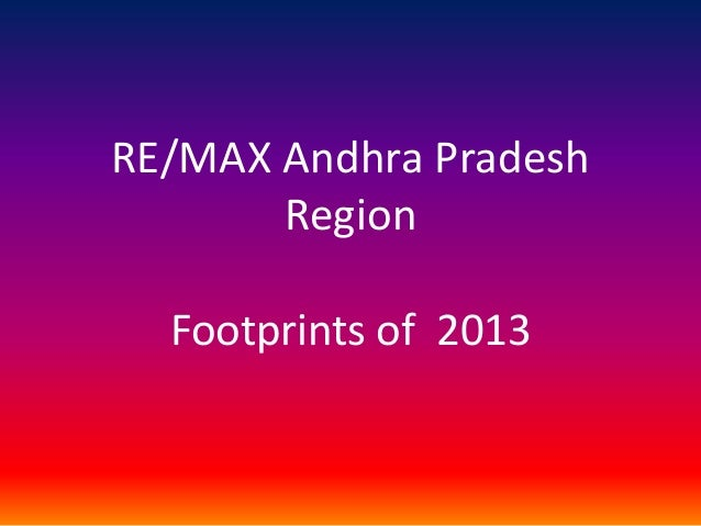 RE/MAX Andhra Pradesh Region Footprints of 2013