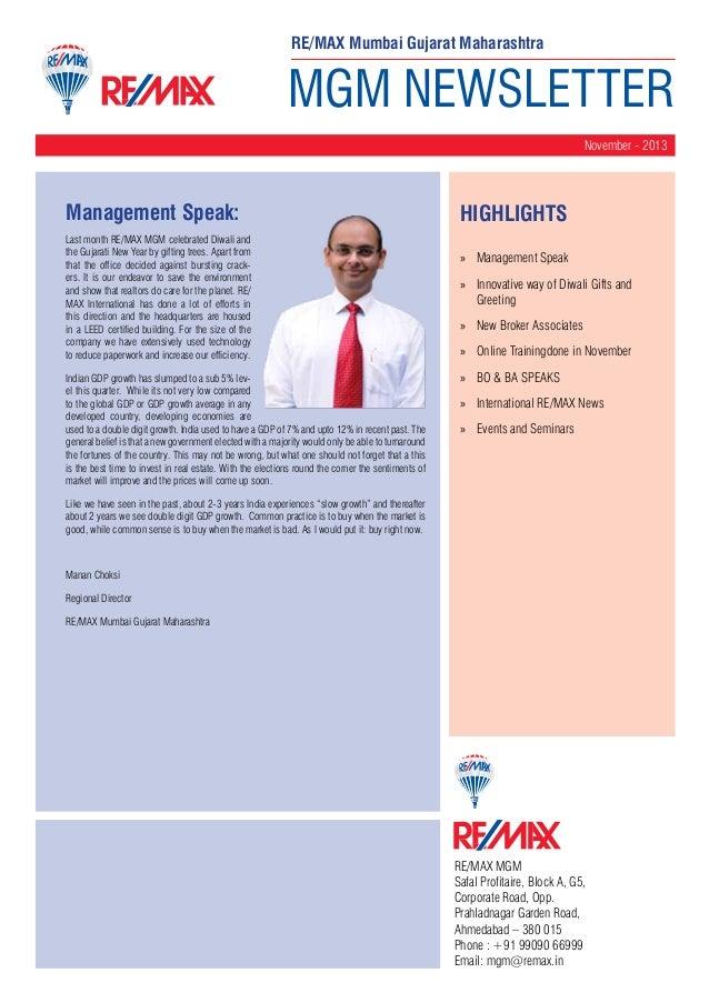 RE/MAX Mumbai Gujarat Maharashtra  MGM NEWSLETTER November - 2013  Management Speak: Last month RE/MAX MGM celebrated Diwa...