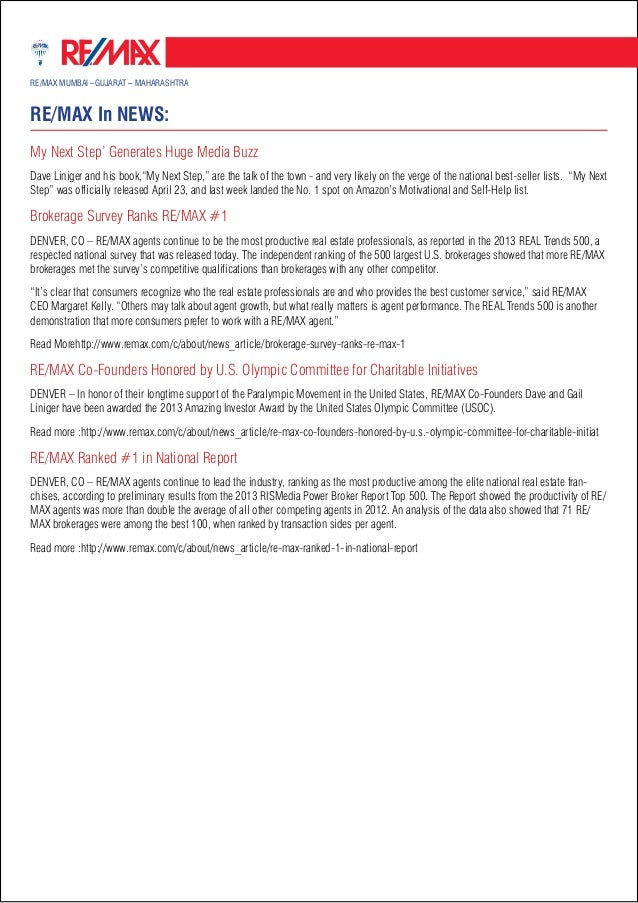 RE/MAX MGM Newsletter April 2013