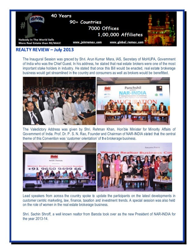 REALTY REVIEW – July 2013 The Inaugural Session was graced by Shri. Arun Kumar Misra, IAS, Secretary of MoHUPA, Government...