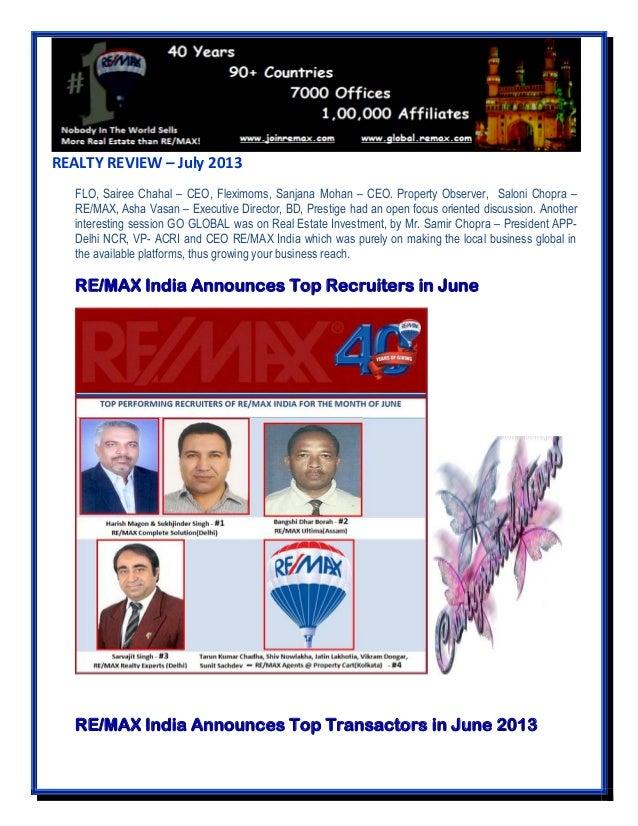 REALTY REVIEW – July 2013 FLO, Sairee Chahal – CEO, Fleximoms, Sanjana Mohan – CEO. Property Observer, Saloni Chopra – RE/...