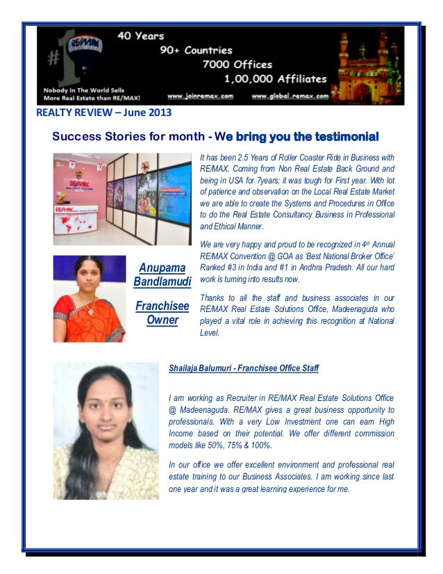 REALTY REVIEW – June 2013 Success Stories for month - We bring you the testimonial It has been 2.5 Years of Roller Coaster...