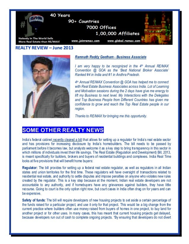 REALTY REVIEW – June 2013 SOME OTHER REALTY NEWS India's federal cabinet recently cleared a bill that allows for setting u...