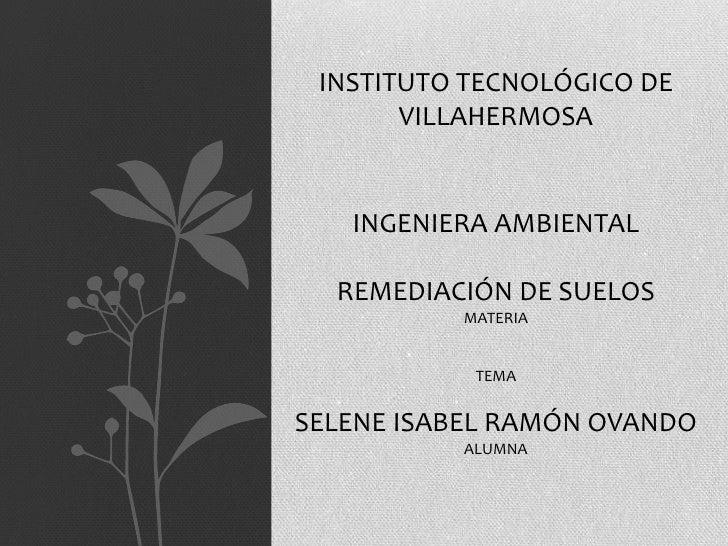 INSTITUTO TECNOLÓGICO DE       VILLAHERMOSA   INGENIERA AMBIENTAL  REMEDIACIÓN DE SUELOS          MATERIA           TEMASE...