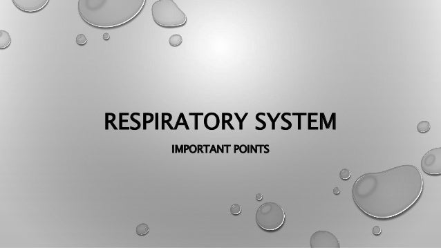 RESPIRATORY SYSTEM IMPORTANT POINTS