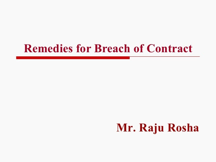 Remedies: Breach of Contract