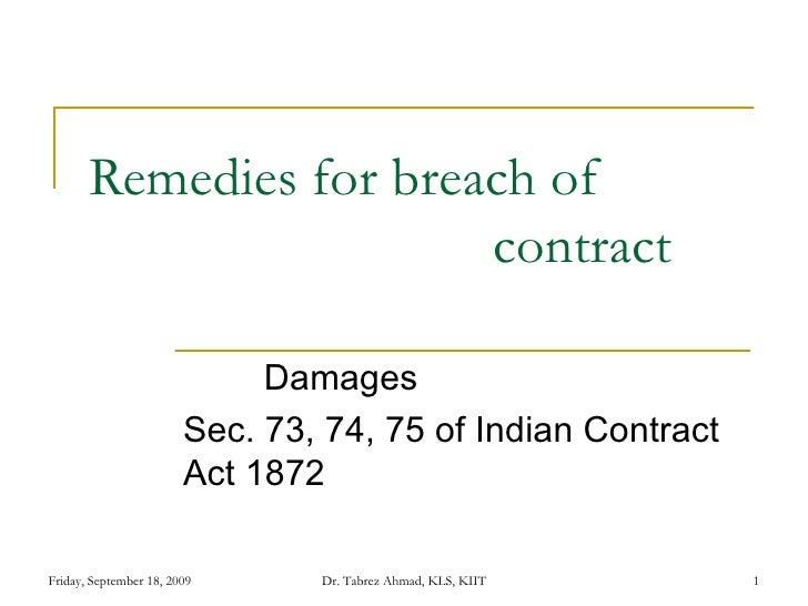 Remedies For Breach O Contract