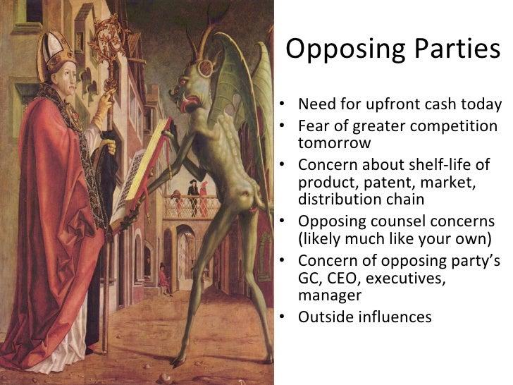 Opposing Parties <ul><li>Need for upfront cash today </li></ul><ul><li>Fear of greater competition tomorrow </li></ul><ul>...
